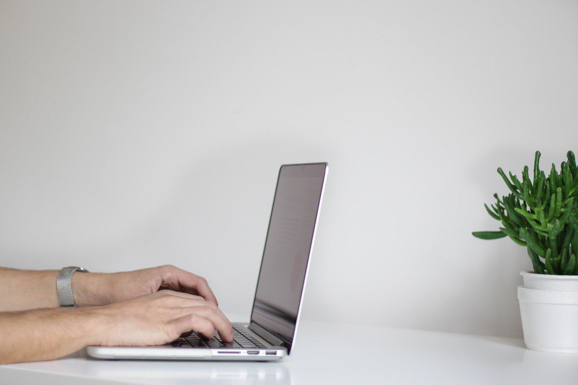 Foto de uma mesa branca com um computador, enquanto uma pessoa digita. Ao lado vemos uma planta em um vaso também branco. Imagem ilustrativa para texto corretora e seguradora.