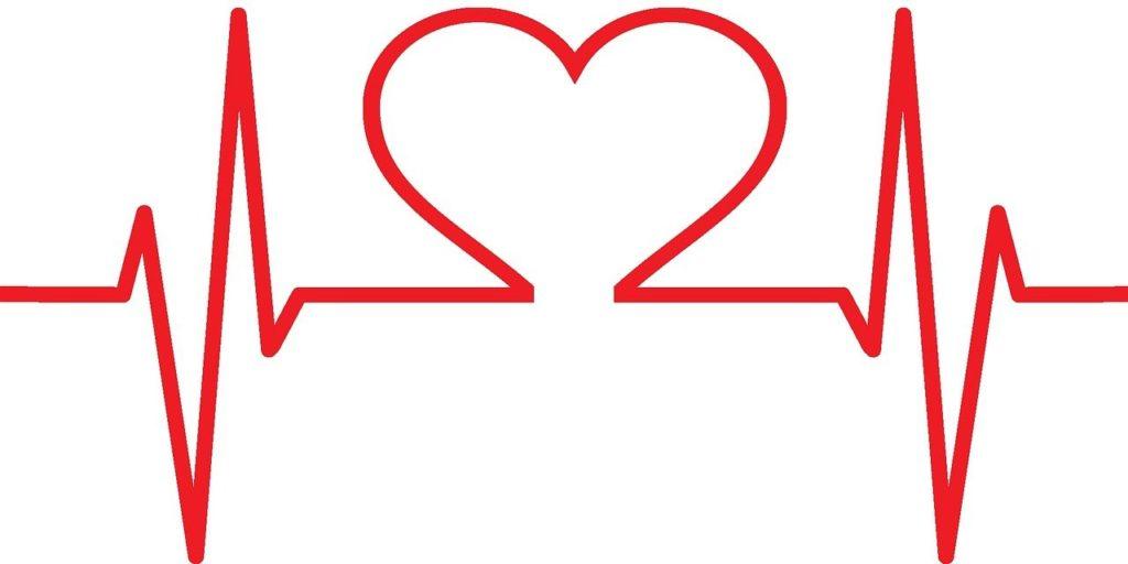 Ilustração de batimentos cardíacos em formato de coração na cor vermelha. Imagem ilustrativa para texto seguro vida em grupo.